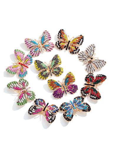 Alloy With Rhinestone Fashion Butterfly Brooches
