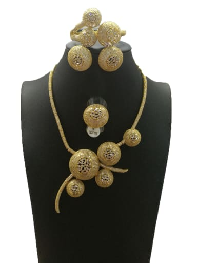 Copper With Gold Plated Fashion Round 4 Piece Jewelry Set