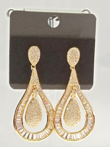 Copper With Gold Plated Fashion Water Drop Earrings