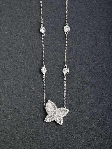 Micro inlay Zircon butterfly 925 Silver Necklaces