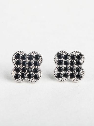 Black zircon Clover Cluster Earrings