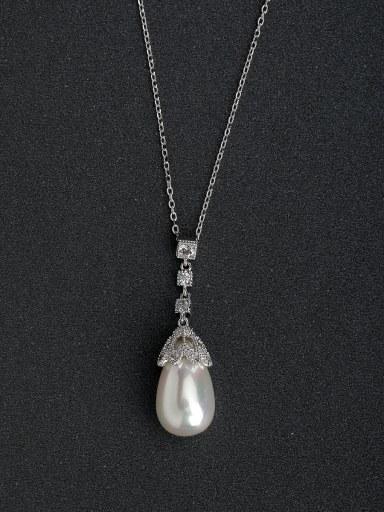 Micro inlay Zircon Elegant imitation pearl  925 Silver Necklaces