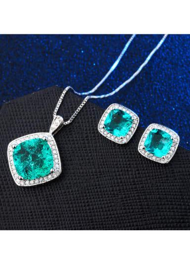 Copper With Glass stone Simplistic Geometric 2 Piece Jewelry Set