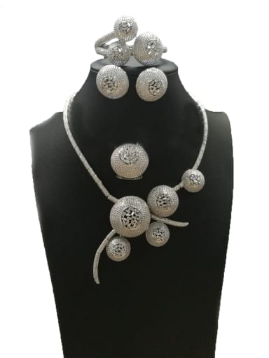 Copper With White Gold Plated Fashion Round 4 Piece Jewelry Set
