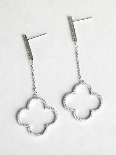 Clover Zircon Copper inlaid platinum Drop Earrings