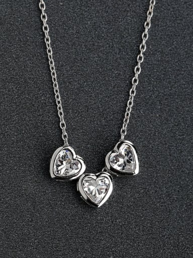 Micro inlay Zircon love heart Silver Necklaces