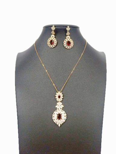 Copper With Gold Plated Fashion Water Drop 2 Piece Jewelry Set