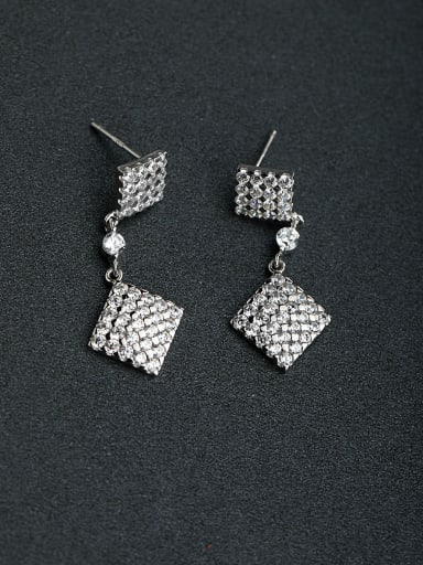 Micro inlay Zircon  square 925 silver Drop Earrings