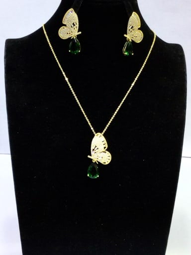 Copper With Gold Plated Trendy Butterfly 2 Piece Jewelry Set