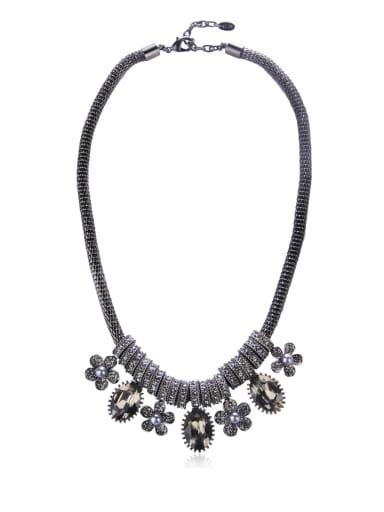 Flowers Imitation crystal Beaded necklace