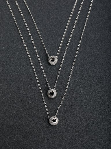 Happy Circle Pendant multilayer 925 silver necklaces