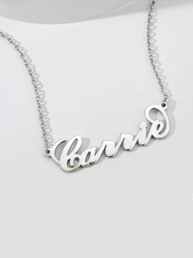"""Customize 925 Sterling Silver White gold plated """"Carrie"""" Style Name Necklace"""