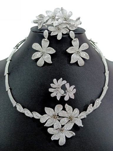 Copper With White Gold Plated Exaggerated Flower Jewelry Sets