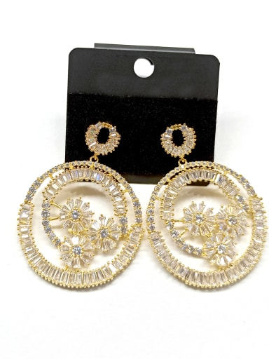 Copper With Gold Plated Fashion Round Earrings