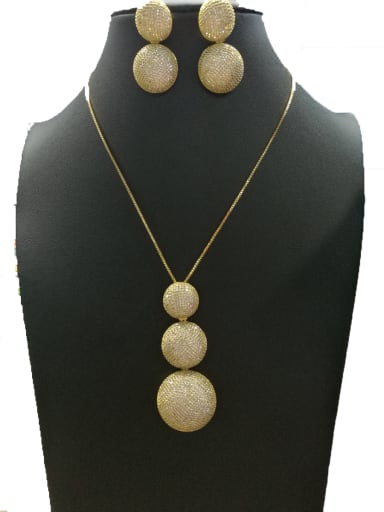 Copper With Gold Plated Trendy Ball 2 Piece Jewelry Set