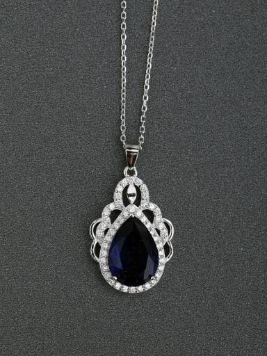 Micro inlay Zircon Hollow carved Blue semi-precious stones 925 Silver Necklaces