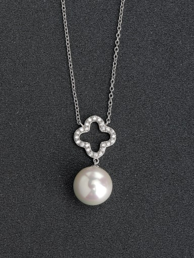 Micro inlay Zircon Hollow clover imitation pearl 925 Silver Necklaces