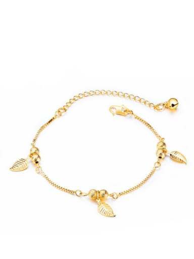 Copper With Imitation Gold Plated Fashion Leaf Anklets