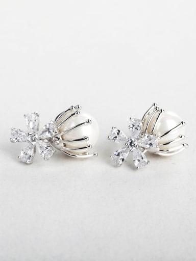 Bling bling flower Imitation pearls  Cluster Earrings