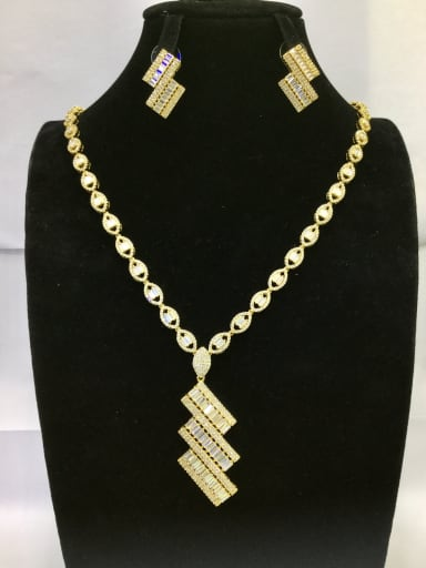 Copper With Gold Plated Classic Square 2 Piece Jewelry Set
