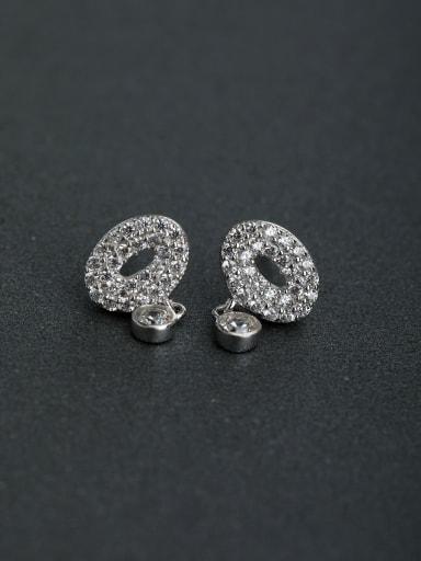 Inlaid Rhinestone Ellipse 925 silver Stud earrings