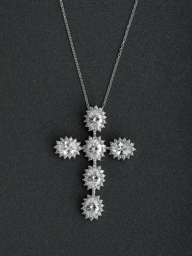 Micro inlay Zircon Cross flowers 925 Silver Necklaces