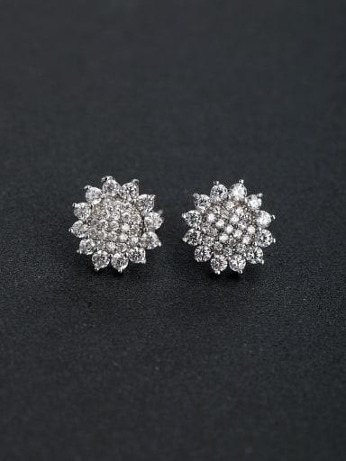 Micro inlay Zircon Sunflower 925 silver Stud earrings
