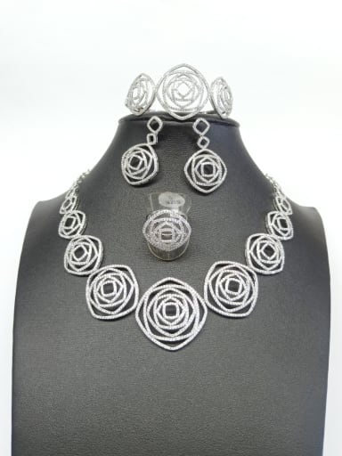 Copper With White Gold Plated Trendy Square 4 Piece Jewelry Set