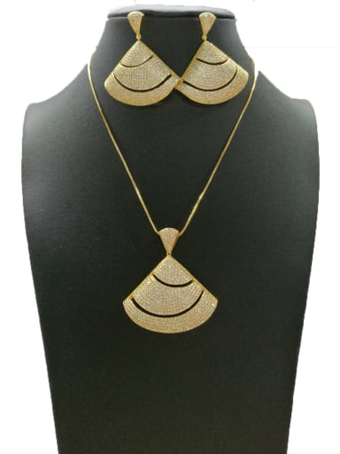 Copper With Gold Plated Classic Triangle 2 Piece Jewelry Set