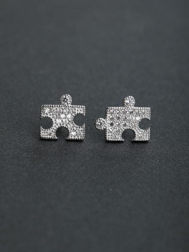 Bling bling Micro inlay Zircon Jigsaw 925 silver Stud earrings