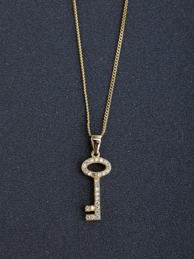 Fashion Heart Key Cubic Zirconias 925 Silver Necklaces