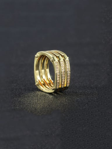Copper With Gold Plated Simplistic Geometric Band Rings