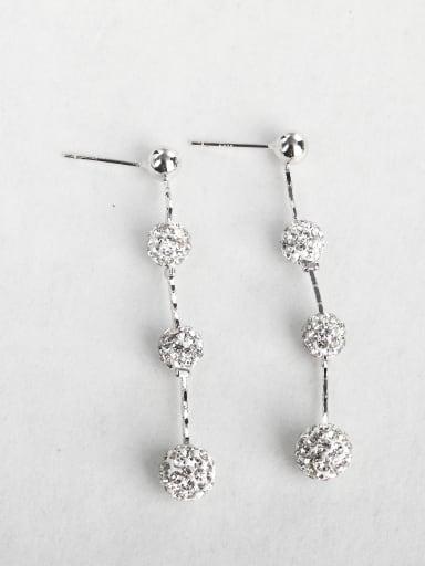 Simple Zircon  Ball Copper inlaid platinum Asymmetry Drop Earrings
