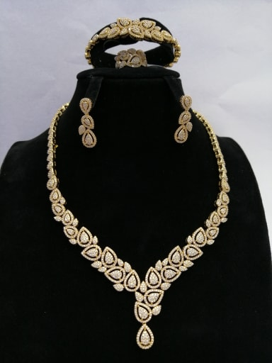 Copper With Gold Plated Trendy Water Drop 4 Piece Jewelry Set
