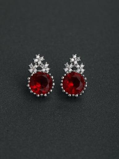 Micro inlay Zircon gorgeous red Semi-precious stones 925 silver Stud earrings