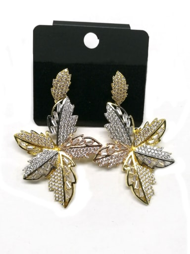 Copper With Mix Plated Fashion Leaf Earrings