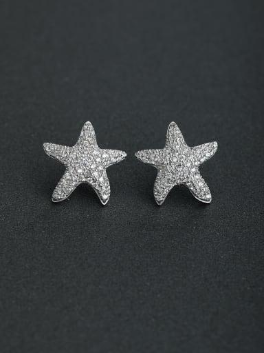 Micro inlay Zircon star lmitation pearls 925 silver Stud earrings