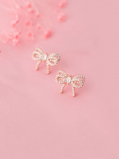 925 Sterling Silver With Cubic Zirconia Cute Bowknot Stud Earrings
