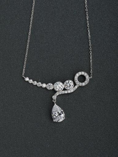 Zircon Pendant simplicity of water droplets 925 silver necklace