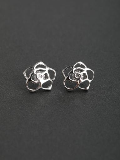 Glossy flowers Simple classic 925 silver Stud earrings