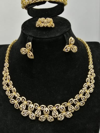 Copper With Gold Plated Trendy Flower 4 Piece Jewelry Set