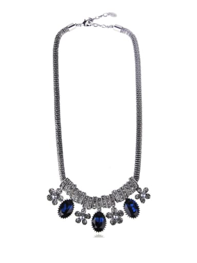 Flowers Imitation crystal Beaded necklace
