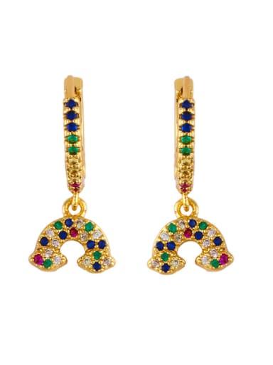 Copper With  Cubic Zirconia Trendy Evil Eye/rainbow Earrings