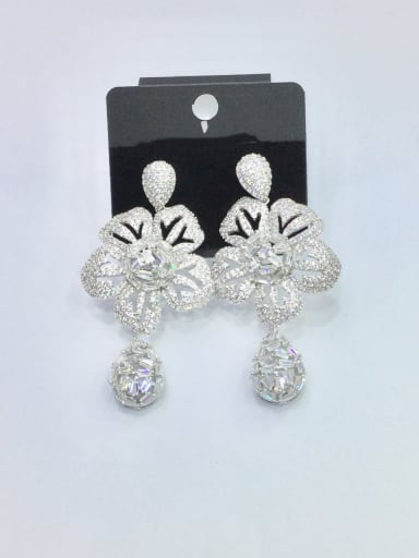 Copper With White Gold Plated Trendy Flower Chandelier Earrings