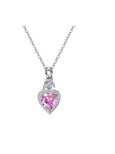 Copper with Cubic Zirconia  pink Heart Necklace