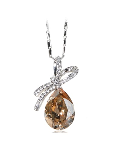 Brown bow-knot Drop shaped crystal Swarovski element crystal necklace
