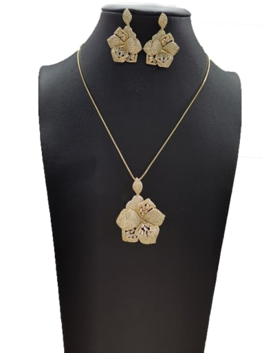 Copper With Gold Plated Classic Flower 2 Piece Jewelry Set