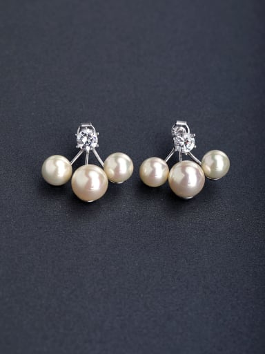 Simple trendy of small rice beads 925 silver Stud earrings