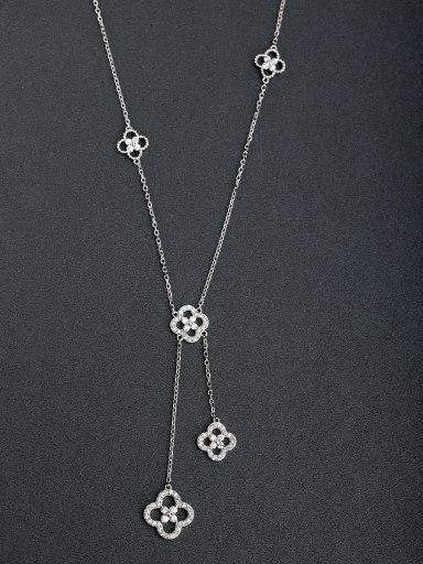 Micro inlay Zircon Lucky Clover Silver Necklaces