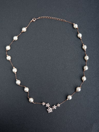 Imitation pearls Beaded 925 Silver Necklaces